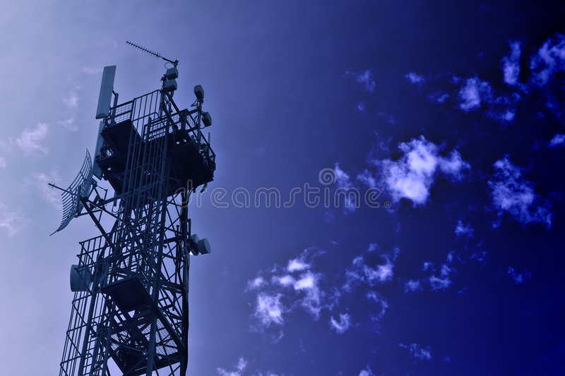 Download Communications Tower Blue Tone Stock Photo - Image of television, transmit: 1489014
