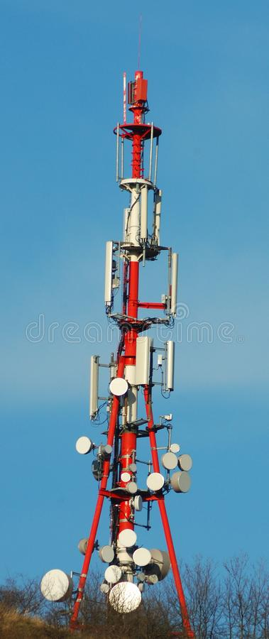 Communications tower on Hungarian mountain stock images