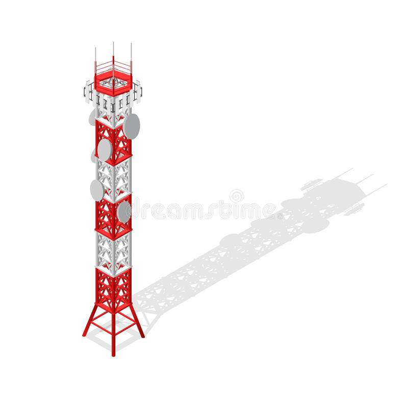Communications Tower Mobile Phone Base or Radio Isometric View. Vector. Communications Tower Mobile Phone Base or Radio for Wireless Connections Isometric View stock illustration