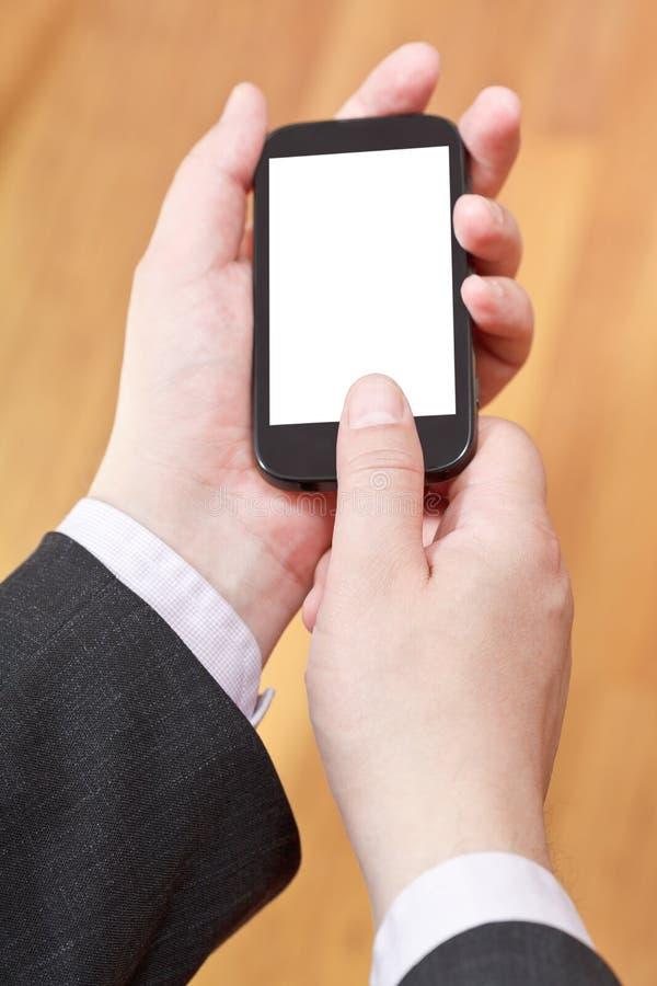 Communicator In Businessman Hands Stock Photo