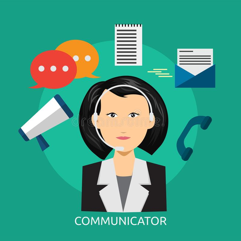 Communicator Conceptual Design. Great flat illustration concept icon and use for human, profession, athlete, work, event and much more royalty free illustration