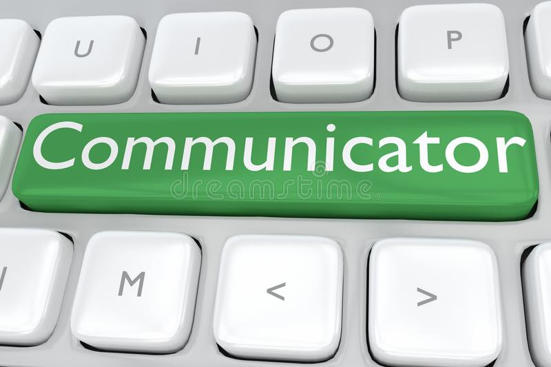 Communicator - information concept. 3D illustration of computer keyboard with the print Communicator on a green button royalty free illustration