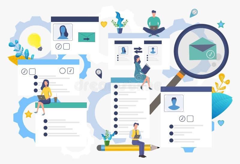 Communicerend via Internet, sociale netwerken, praatje, video, nieuws, berichten, website, onderzoek naar vrienden vector illustratie