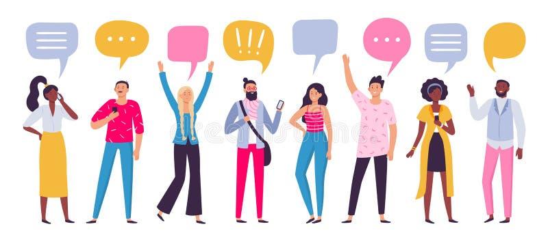 Communicerende mensen De mededeling van de praatjedialoog, de sprekende of sprekende mensen van de smartphonevraag groeperen vect stock illustratie