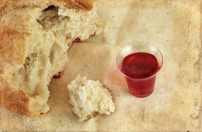 Communion Bread Loaf and Wine Grunge stock image