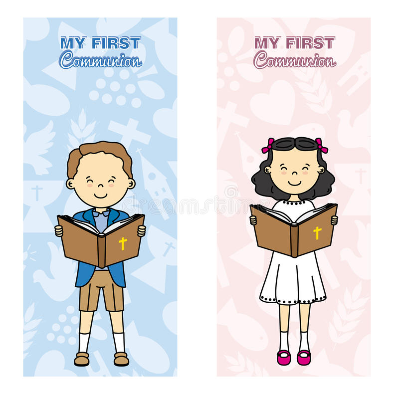 Communion card. My first communion card. Girl and boy reading the bible royalty free illustration