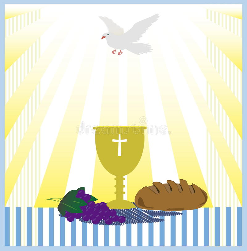 communion card template with dove  stock photo
