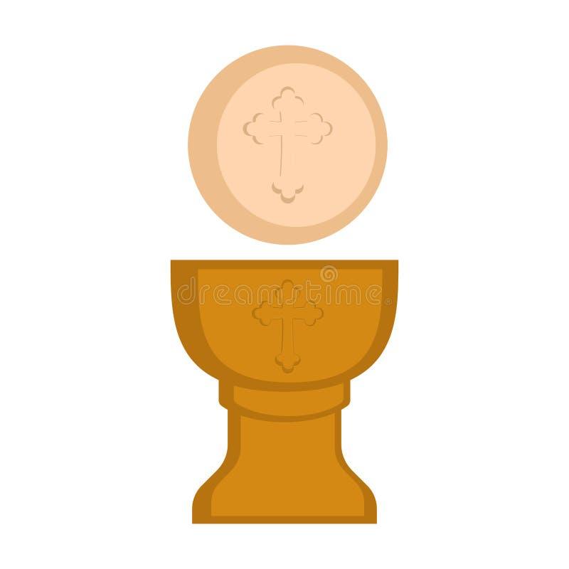 Communion cup and host. Vector illustration design vector illustration