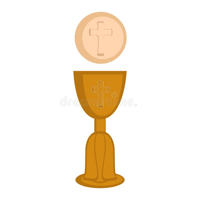 Communion cup and host. Vector illustration design royalty free illustration