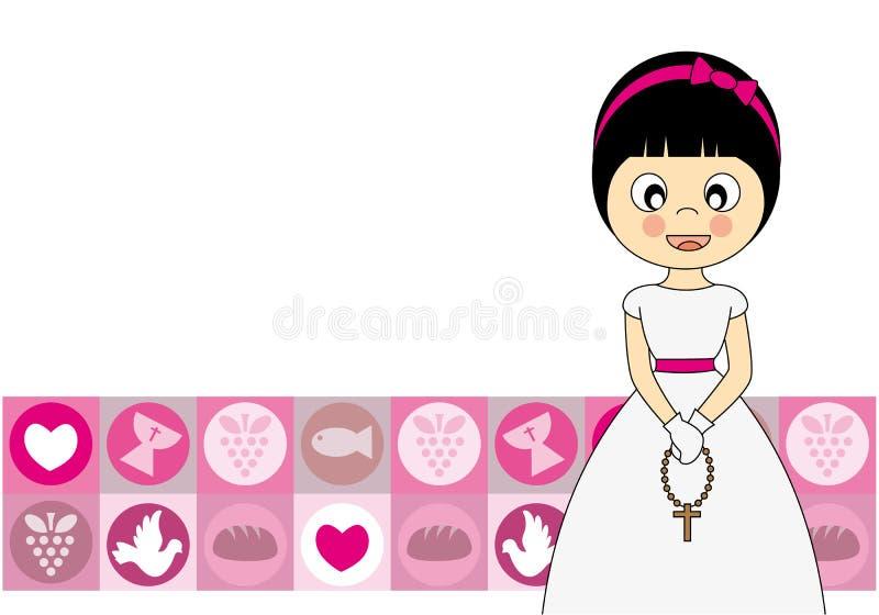 Communion girl. First Communion invitation card. girl stock illustration