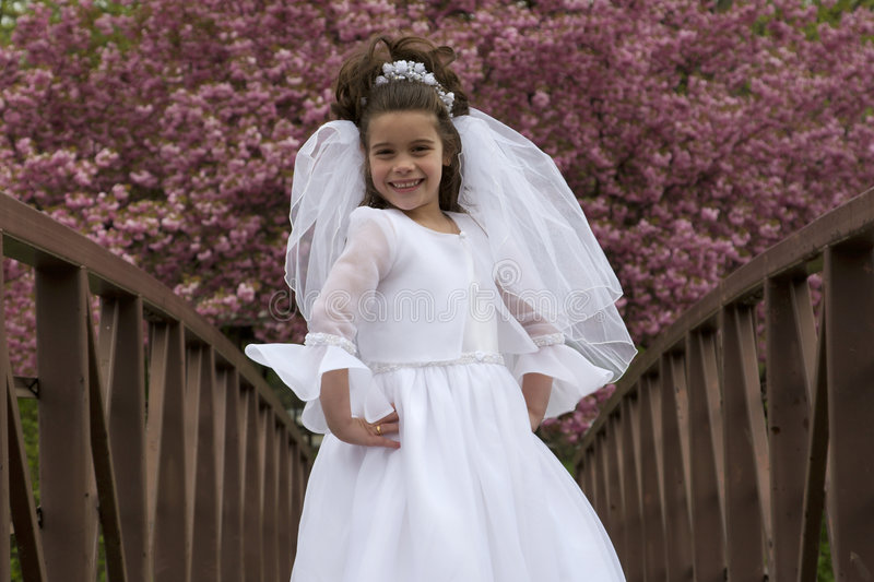 Communion Girl. Portrait of little girl in communion dress and veil in spring royalty free stock image
