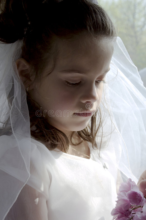 Communion Girl. Portrait of little girl looking down wearing communion dress and veil stock image