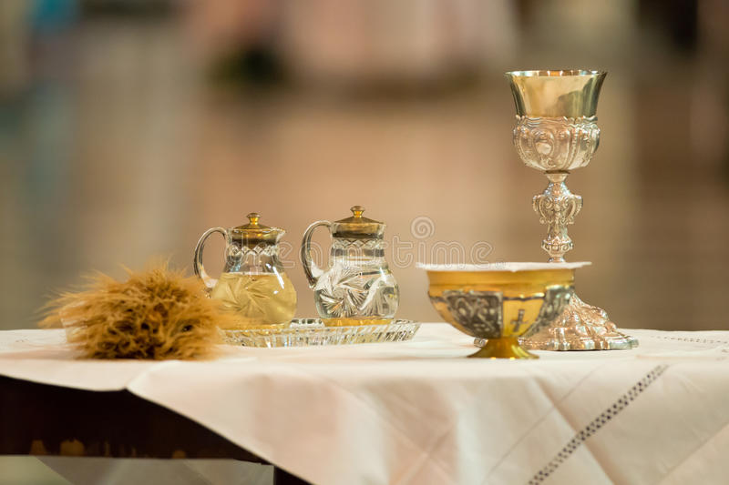 Communion offertory. Goblet and ampoules for the offertory of the Communion during the Mass stock image