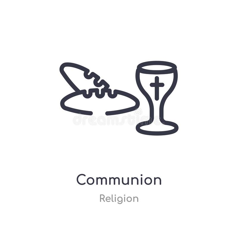communion outline icon. isolated line vector illustration from religion collection. editable thin stroke communion icon on white royalty free illustration