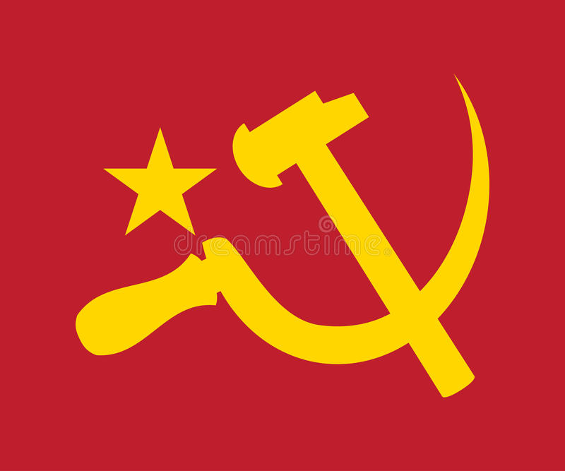 Communism Communist Logo Symbol Illustration. The symbol of Communism- Hammer, sickle and star in yellow on red background stock illustration
