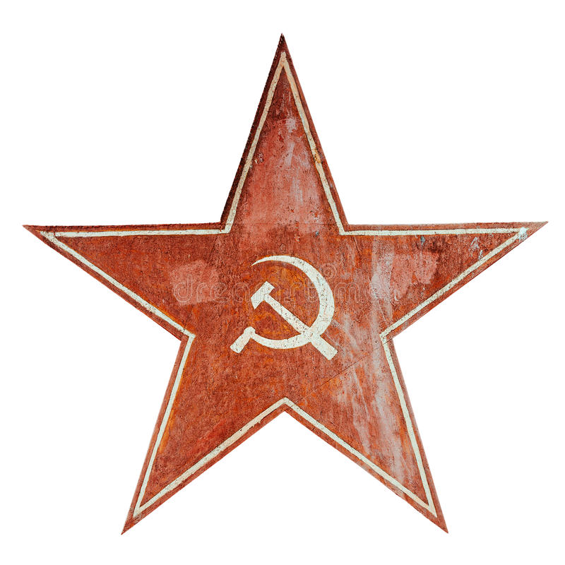 Communism symbol. Red USSR communism symbol with hammer and sickle. Aged metal plate isolated on white stock photo