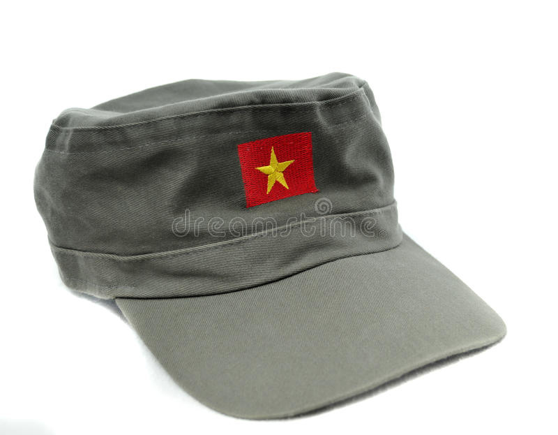 Communist Hat. With yellow star and red rectangle design isolated on white background royalty free stock image