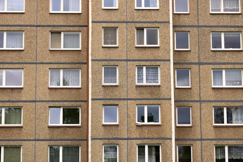 Communist socialist architecture. Architectural detail and pattern of social residential of apartments in Jablonec, Czech Republic stock photo