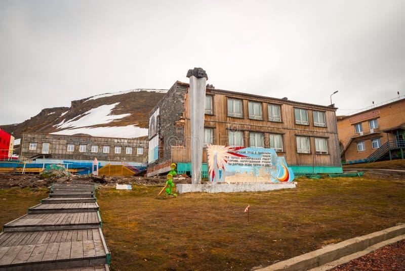Communistisch gedenkteken in Barentsburg, Svalbard royalty-vrije stock foto