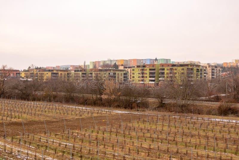 Communistische socialistische architectuur Architecturaal detail en patroon van sociale woon van flats Portret van socialistisch- stock afbeeldingen