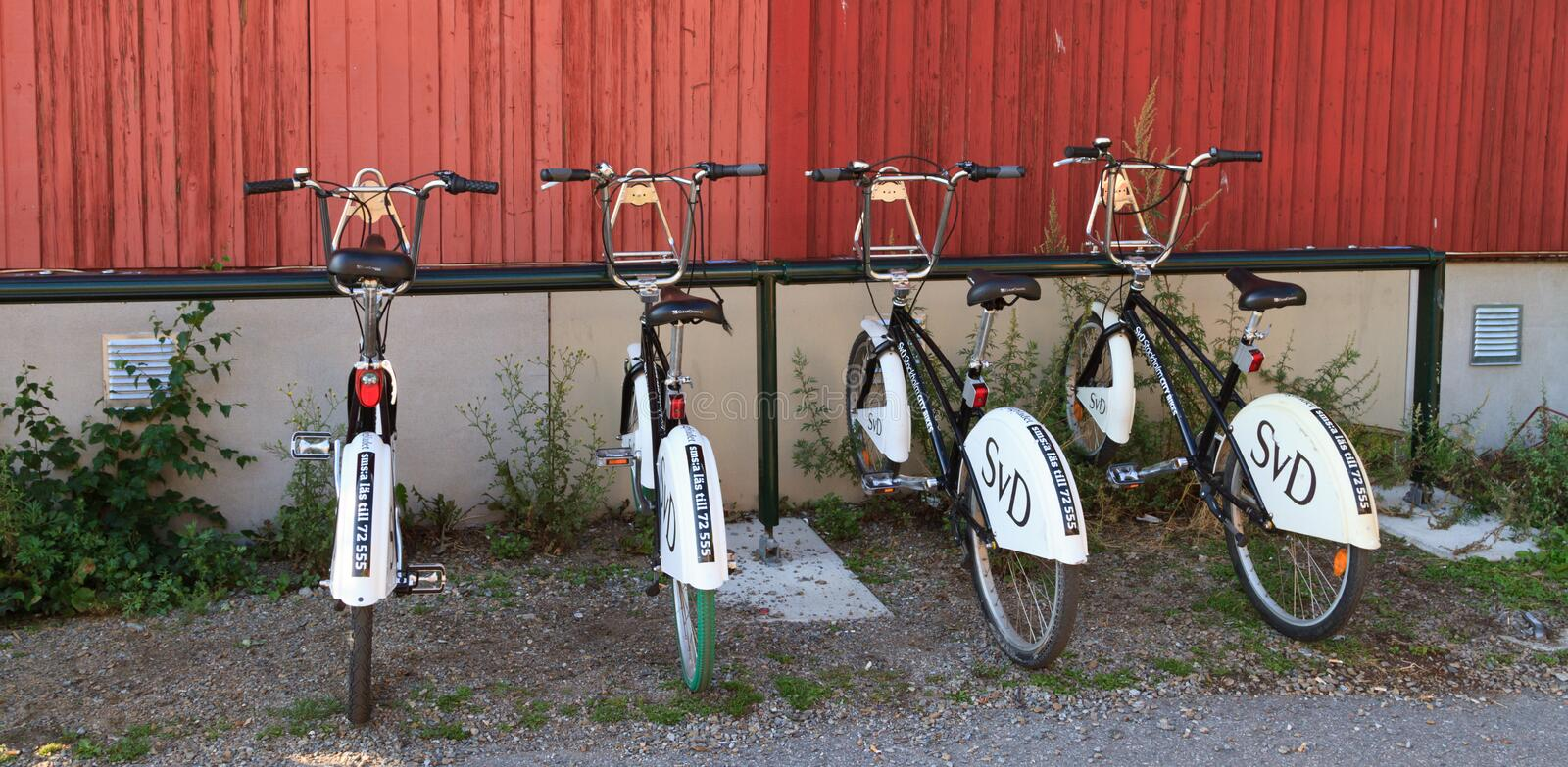 Community bikes in Stockholm royalty free stock image