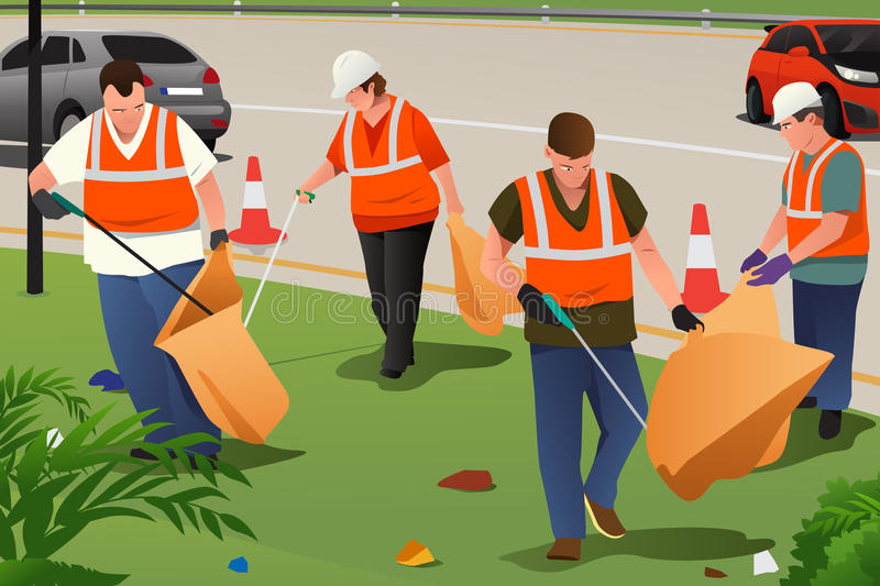 Community Cleaning on the Roadside vector illustration