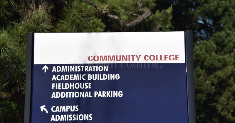 Community College Campus Directory. A community college directory directs students to the academic building, the field house, campus admissions and additional royalty free stock photo