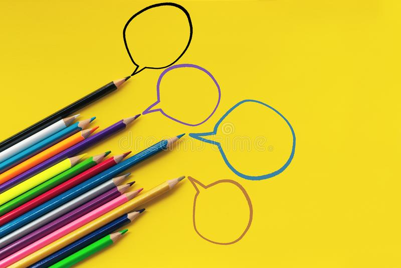 Community communication, represents people conference, social media interaction & engagement. group of pencils sharing idea. On the yellow background with copy stock image