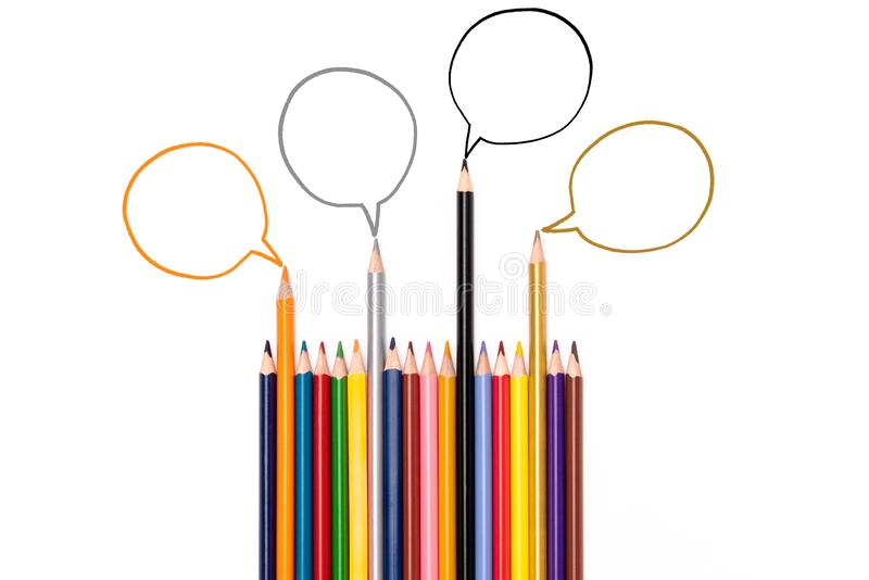Community communication, represents people conference, social media interaction & engagement. group of pencils sharing idea. On the white background with copy royalty free stock photo