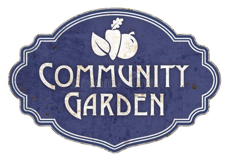 Community Garden Sign Vintage English vector illustration