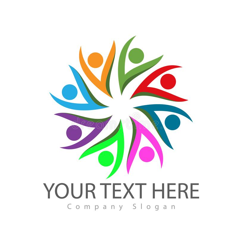 Community group people logos colorful, care. Circle, family culture. vector illustration