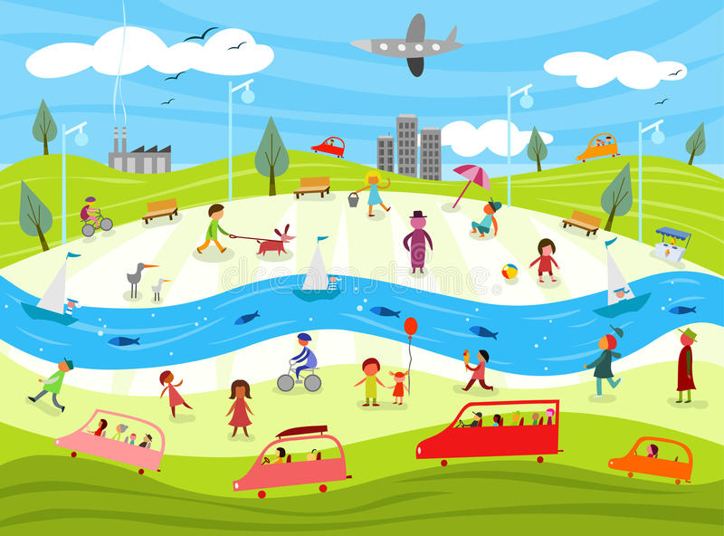 Community life - day in the city vector illustration