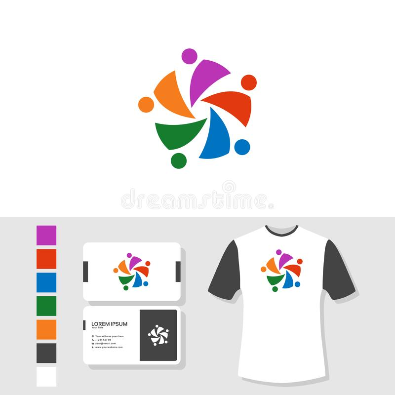 Community logo design with business card and t shirt mockup vector illustration