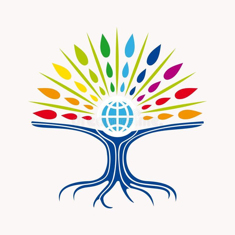 Community manager education world tree concept royalty free illustration