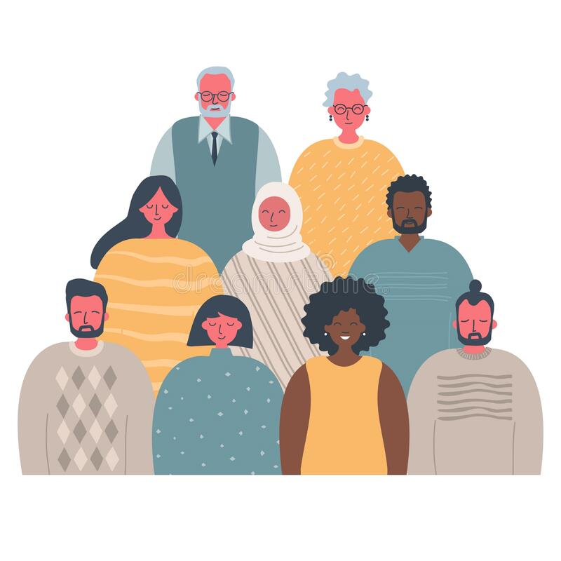 Free Community Of People Of Different Sexes, Races And Ages. International Group Of People Stock Images - 174243904