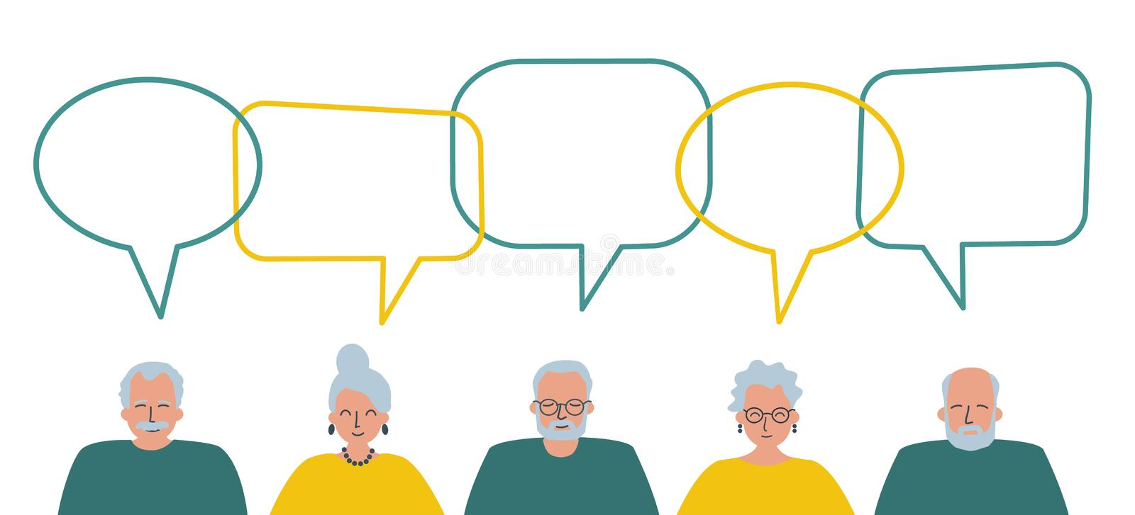 Community of older people. Communication of elderly men and elderly women. People icons with speech bubbles. Vector illustration royalty free illustration