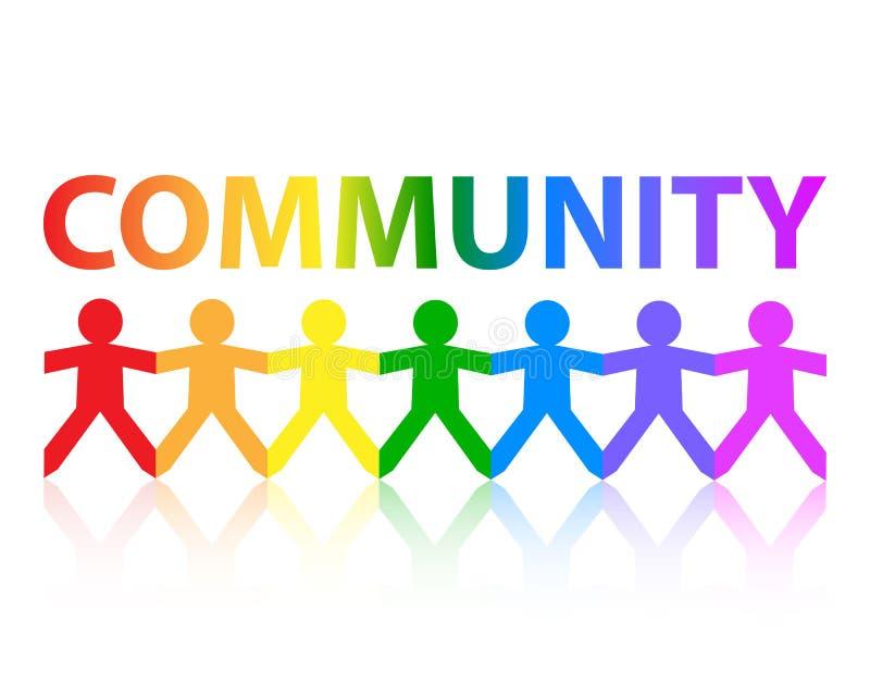 Community Paper People Rainbow royalty free illustration