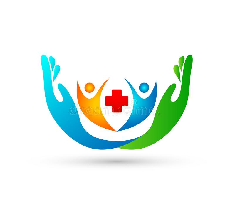 Community people Medical care logo and symbols template with two hands. People, logo. vector illustration