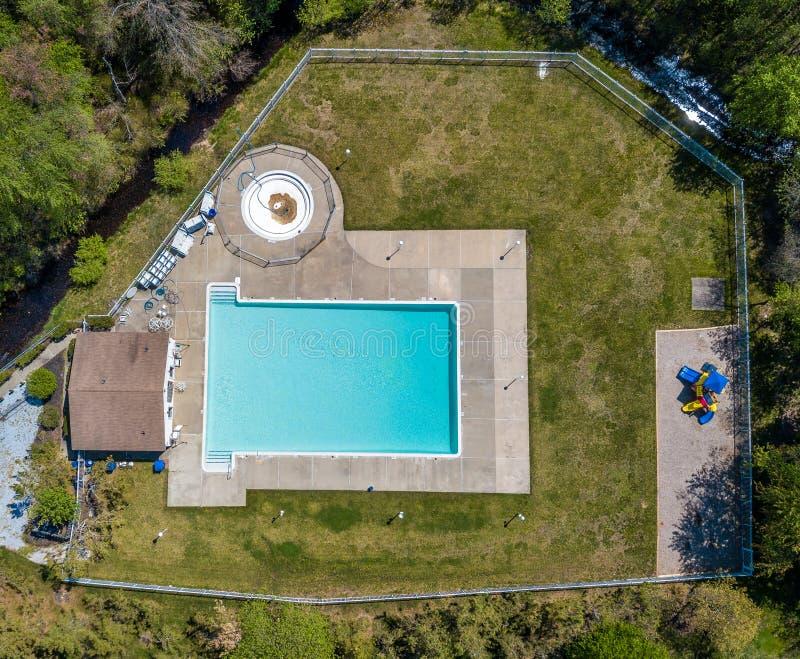 Community pool before the swim season start. Aerial photo of community pool before the swim season start royalty free stock images