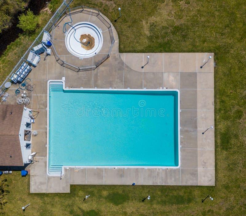 Community pool before the swim season start. Aerial photo of community pool before the swim season start royalty free stock photos