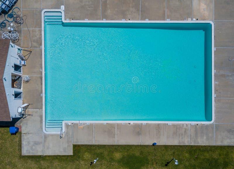 Community pool before the swim season start. Aerial photo of community pool before the swim season start stock photo