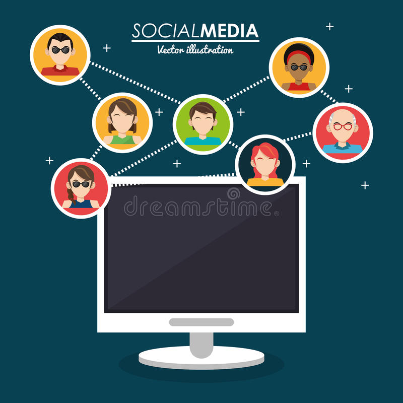Community social media computer system. Vector illustration eps 10 vector illustration