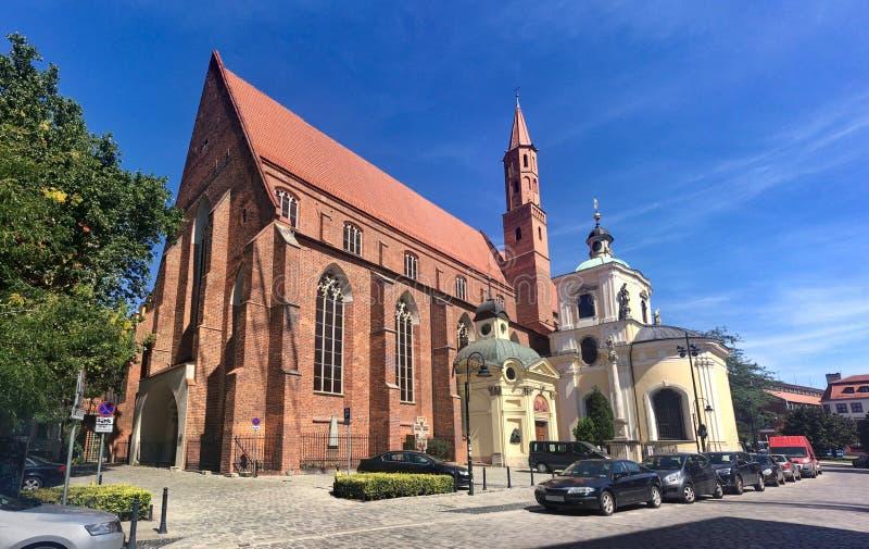 Commutateur de St Vincent Church Kosciol Wincentego dans le polonais à Wroclaw, Pologne, l'Europe Il a été construit dans le styl photos libres de droits