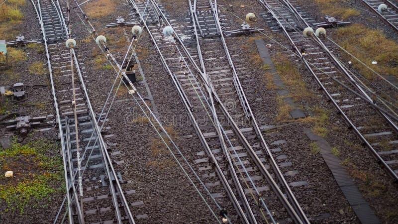 Commutateur de voie ferrée au Japon à l'hiver photos libres de droits
