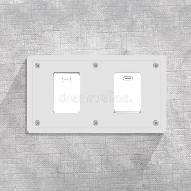 Commutateur l?ger interrupteur de lampe deux Fond gris illustration de vecteur