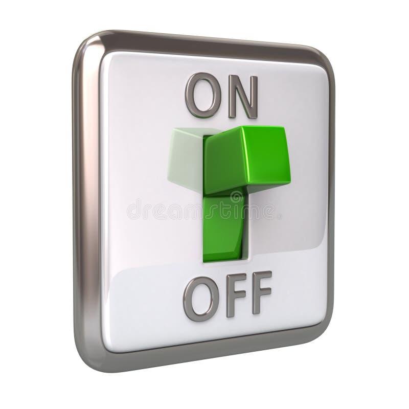 Commutateur vert dans l'illustration de la position de fonctionnement 3d illustration de vecteur