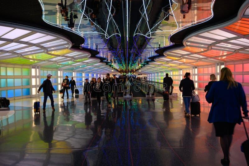 Commutateurs à l'aéroport de Chicago`s O'Hare photographie stock libre de droits