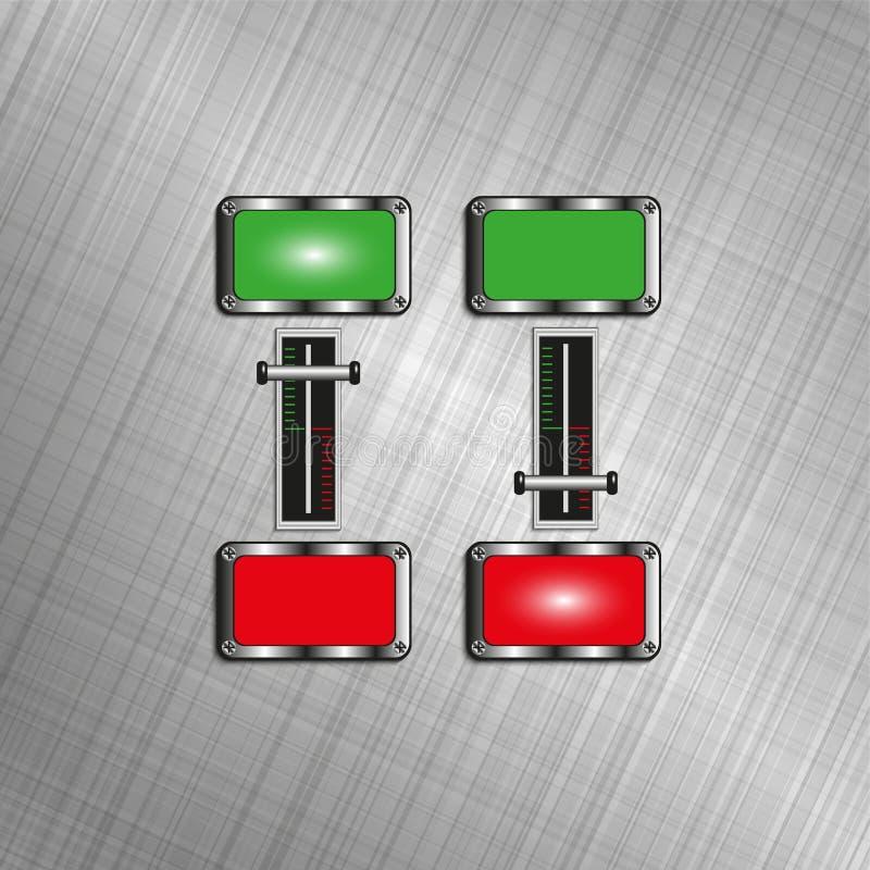 Commutateurs électriques avec les indicateurs légers Illustration de vecteur illustration stock