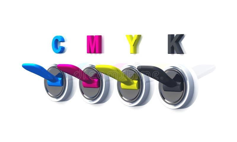 Commutateurs d'encre de couleur d'impression de CMYK illustration libre de droits