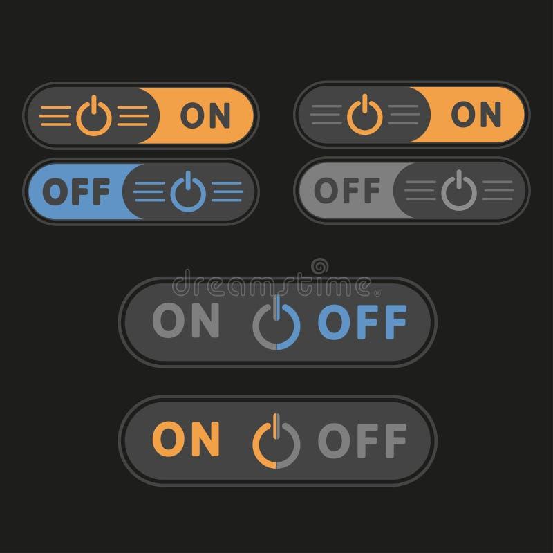 Commutateurs ' marche-arrêt ' ou boutons Ensemble de vecteur d'isolement sur le fond noir illustration de vecteur